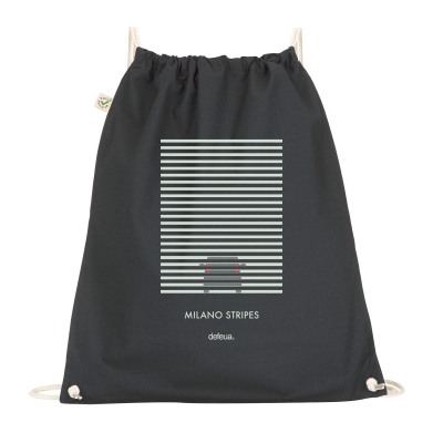 MILANO Drawstring Bag Milano stripes of fog - Black - 100% organic cotton