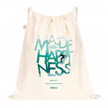 MWH WAVE Drawstring Bag Surf - Natural - 100% organic cotton