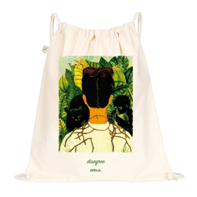 DISAGREE Drawstring Bag - Natural - 100% organic cotton