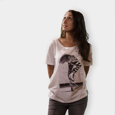 "Defeua® ""REBELISTIC"" white tshirt woman oversized cut - Rebel Ballerina t-shirt"