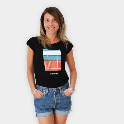 "Defeua® ""Roger"" STRIPES - T-shirt donna Roger Federer nera"