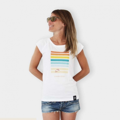 Summer Two STRIPES - Women tee beach and sea - Black or White