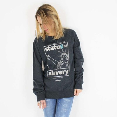 "Defeua® ""MODERN FREEDOM"" streetwear sweatshirt Statue of Liberty selfie 100% recycled fabric"