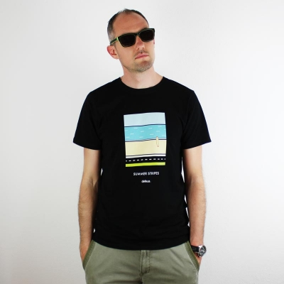 Summer one STRIPES - Men tee summer style surf - White or Black