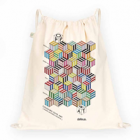 COLOURS Drawstring Bag Pop Art- Natural - 100% organic cotton