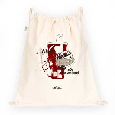 BE RUDE Drawstring Bag - Natural - 100% organic cotton-VW van vs Coke