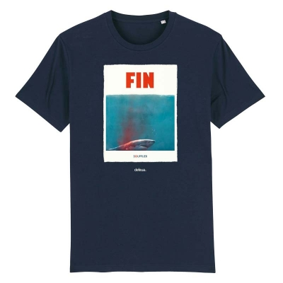 """FIN"" a t-shirt on a mission, born to protect sharks and support Sea Shepherds campaigns"