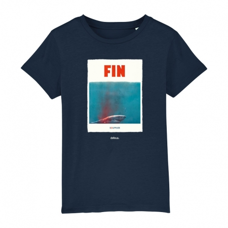 """FIN"" t-shirt for kids made of organic cotton. Save the sharks"